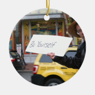 Street Life Double-Sided Ceramic Round Christmas Ornament