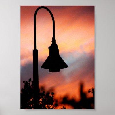 Street Light Silhouette Print print