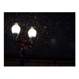 Street Light with Holiday Bow and Garland Postcard