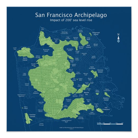 Street map of submerged San Francisco 18x18\
