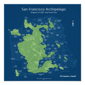 "Street map of submerged San Francisco 18x18"" Print"