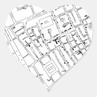 STREET MAP HEART STICKER