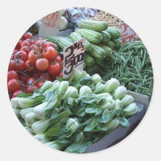Street Market Fresh Vegetables CricketDiane Classic Round Sticker