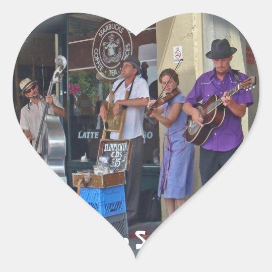 Street Musicians Heart Sticker