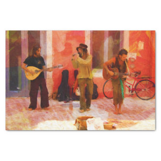 Street Musicians Playing Guitar Mandolin and Flute Tissue Paper