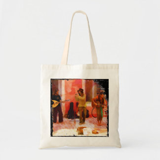 Street Musicians Playing Guitar Mandolin and Flute Tote Bag
