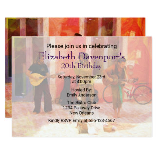 Street Musicians Playing Together Birthday Invite