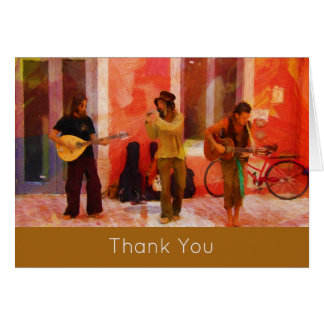 Street Musicians Playing Together Thank You Card