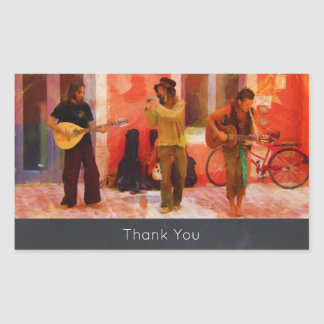 Street Musicians Playing Together Thank You Rectangular Sticker