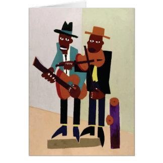 Street Musicians ~ Vintage American Art Greeting Card