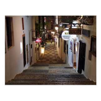 Street of Altea with perron at night Postcard