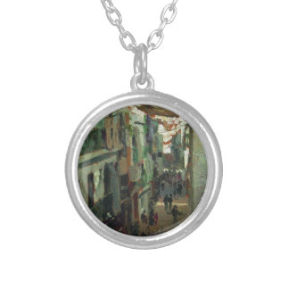 Street of the Snakes in Seville by Ilya Repin Round Pendant Necklace