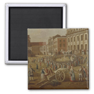 Street performers in the Alter Markt, 1771 2 Inch Square Magnet