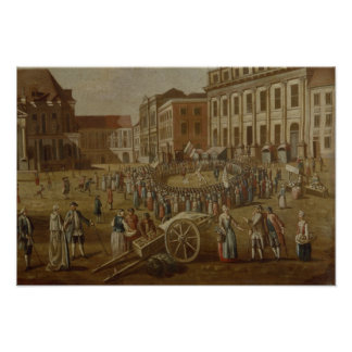 Street performers in the Alter Markt, 1771 Poster