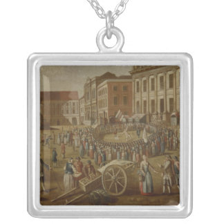 Street performers in the Alter Markt, 1771 Silver Plated Necklace