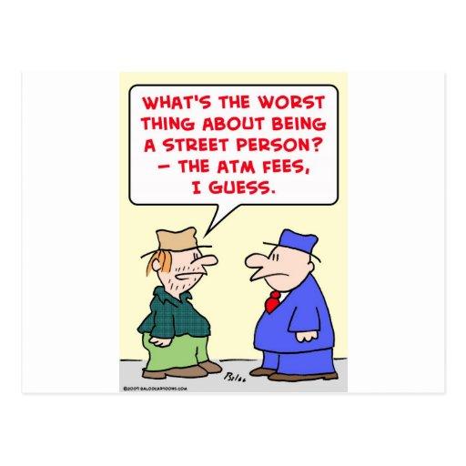 street person atm fees postcard