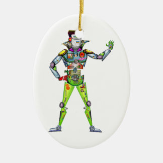 Street Ready Digital Man Double-Sided Oval Ceramic Christmas Ornament