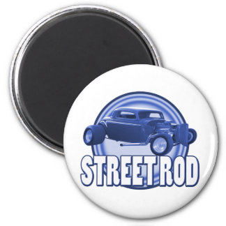 street rod circle blue double ring 2 inch round magnet