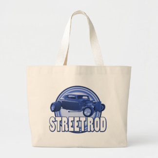 street rod circle blue double ring tote bag