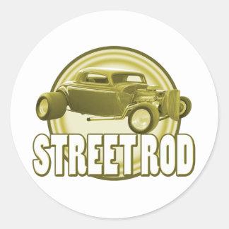 street rod sepia moon classic round sticker