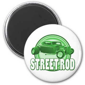 street rod with style in green 2 inch round magnet