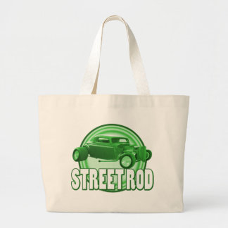 street rod with style in green canvas bags