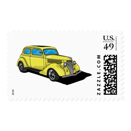 Street Rod Yellow Postage Stamp