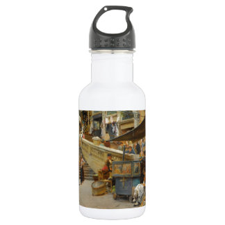 Street Scene and Vendors Water Bottle