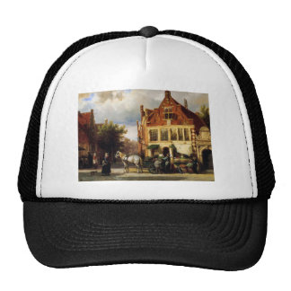 Street scene by Cornelis Springer Trucker Hat