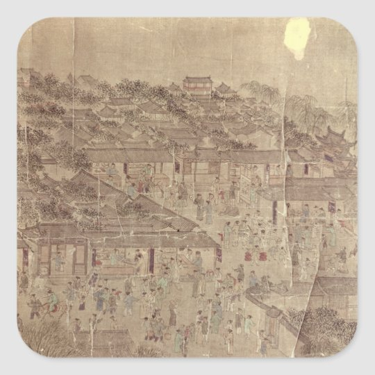 Street scene, Chinese, Ming Dynasty Square Sticker