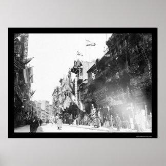 Street Scene in Chinatown, New York City 1913 Poster