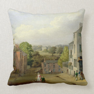 Street Scene in Chorley, Lancashire, with a View o Throw Pillow