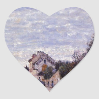 Street Scene in Marly by Alfred Sisley Heart Sticker
