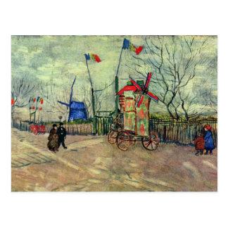 Street Scene In Montmartre Le Moulin À Poivre By V Postcard