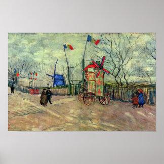 Street Scene In Montmartre Le Moulin À Poivre By V Poster