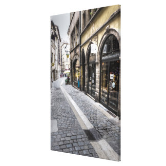Street Scene In Old Town, France Canvas Print