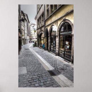 Street Scene In Old Town, France Poster