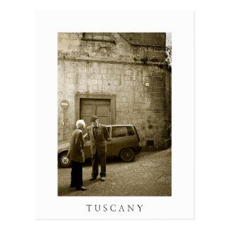 Street scene in Tuscany white text postcard