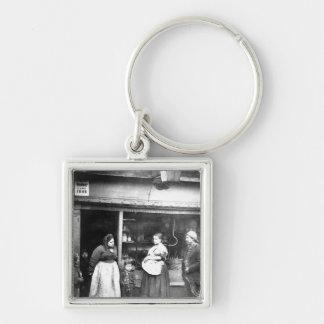 Street scene in Victorian London Silver-Colored Square Keychain