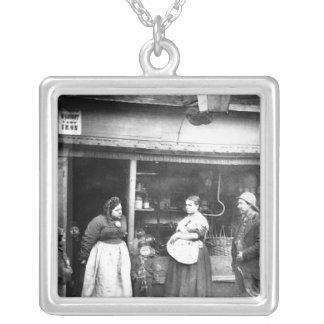 Street scene in Victorian London Square Pendant Necklace