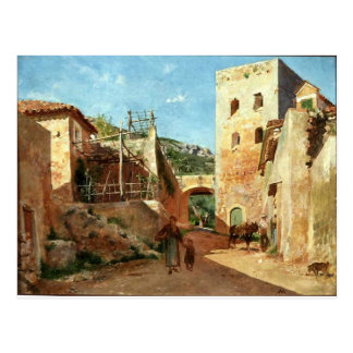 Street Scene near Antibes by Ernest Meissonier Postcard