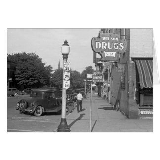 Street Scene Urbana, Ohio, 1938 Card