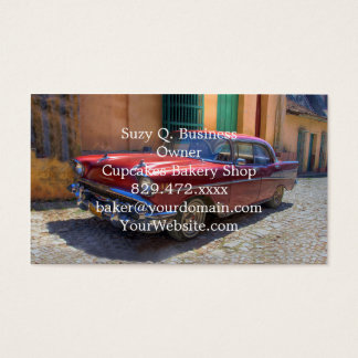 Street scene with old car in Havana Business Card