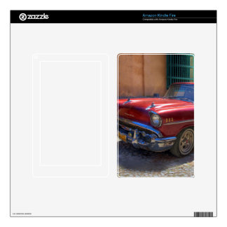 Street scene with old car in Havana Decals For Kindle Fire