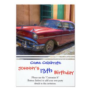 9b7f733e4a14 Street scene with old car in Havana Invitation