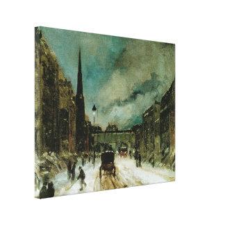 Street Scene with Snow (57th Street, NYC) 1902 Canvas Print