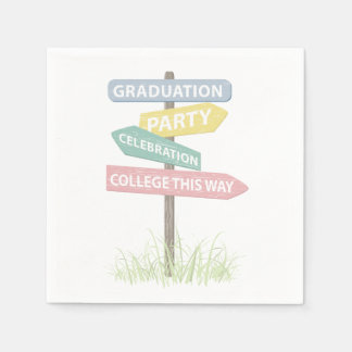 Street Sign High School Gradution Party Paper Napkin