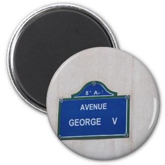 Street sign of Paris 2 Inch Round Magnet