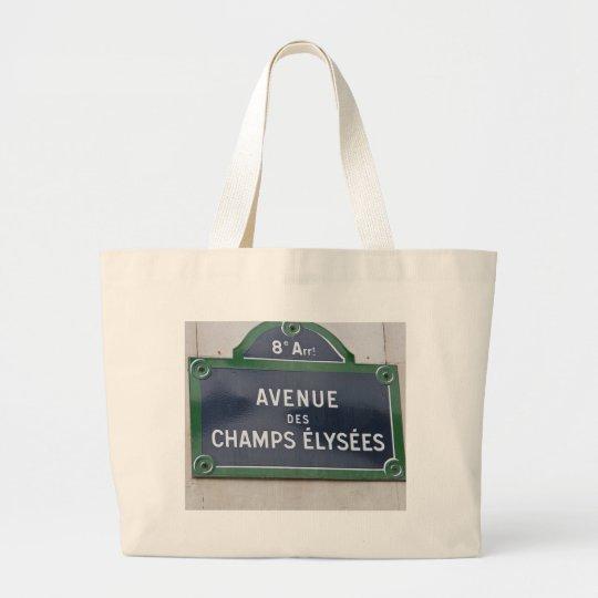 Street sign of Paris Large Tote Bag