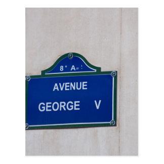 Street sign of Paris Postcard